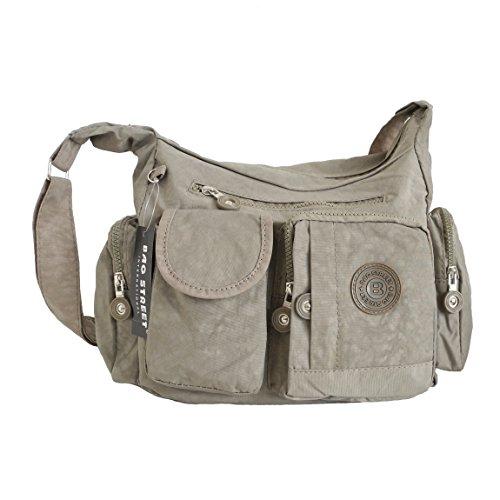 Bag Street borsa a tracolla borsa a tracolla borsa tempo libero Sport scuola Bodybag City Borsa in nylon-präsentiert von ZMOKA®, pietra (marrone) - 0