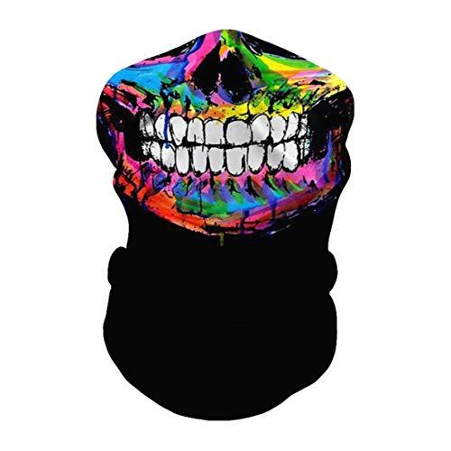 JOJOZZ Gesicht Schale Halb Magie Durable weich und warm Kopfbedeckung Turban-Kopf-Verpackungs-Hals Balaclava Stirnband 3D-Druck Kopfbedeckung für Jogging Yoga Jagd Motorrad -10pcs