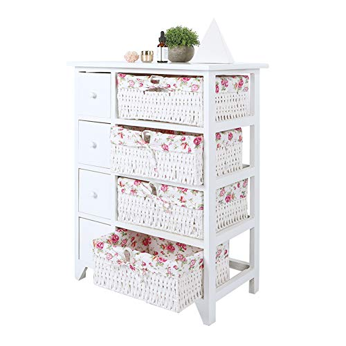 ICOCO Chest of Drawers, 8 Drawer With Handles and Runners Bathroom Floor Storage Cabinet with Wicker Baskets for Living Room, Kitchen, Entryway