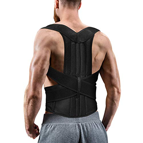 Back Brace Posture Corrector for Women and Men, Back Braces for Upper and Lower Back Pain Relief, Adjustable and Fully Back Support Improve Back Posture and Lumbar Support(L, 35.5'-41.5' Waist)