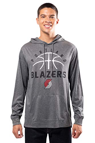 Ultra Game NBA Portland Trail Blazers Mens Super Soft Lightweight Pullover Hoodie, Heather Charcoal , Large