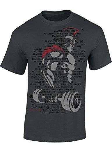 T-Shirt: Train Hard Spartan - Fitness Geschenke für Damen & Herren - Bodybuilding - Gym - Training - Kraft-Sport Bekleidung - Muscle - Workout - Sparta - Fight - Macho - Männer - Zubehör (M)