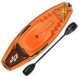 Goplus 6FT Youth Kayak, Kids Recreational Rowing Fishing Boat w/Paddle, Folding Backrest, Storage Hatche, 4-Level Footrest, Sit-On-Top Kayak Canoe for Children Over 5 (Orange)