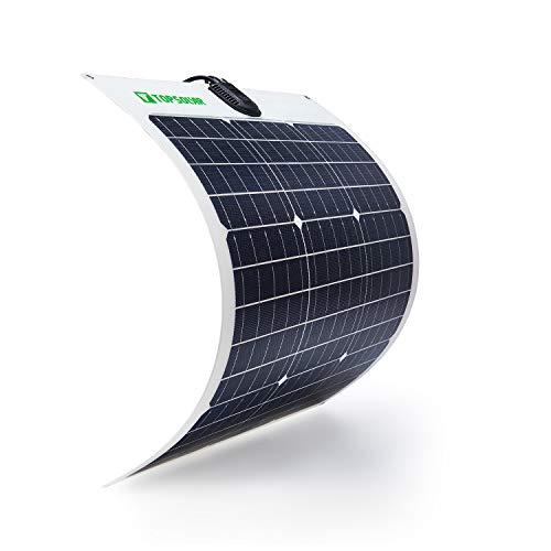 TP-solar Flexible Solar Panel 50W 12V Monocrystalline Bendable - 50 Watt 12Volt Semi-Flexible Mono Solar Panels Charger Off-Grid for RV Boat Cabin Van Car Uneven Surfaces