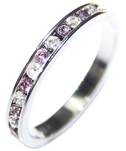 Free Engraving of Your Choice! Light Amethyst & Clear AAA Grade Finest CZ Delightful Full Eternity Ring Band. Very Pretty & Pleasing Piece Of Jewellery For Her! Graceful Quality.