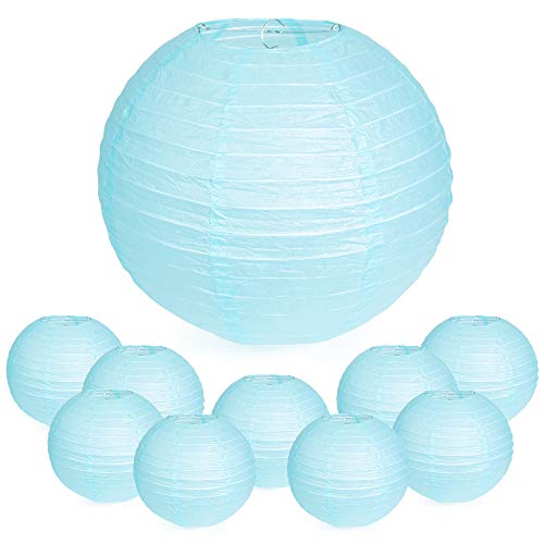 """WYZworks Round Paper Lanterns 10 Pack (Light Blue, 10"""") - with 8"""", 10"""", 12"""", 14"""", 16"""" option"""