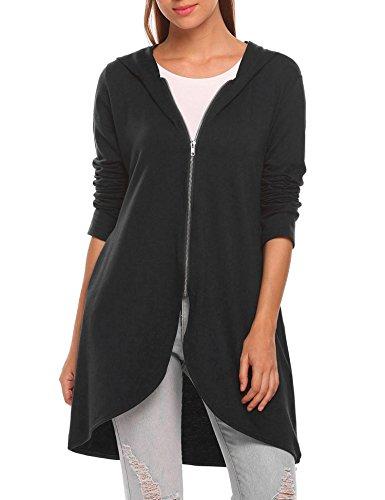 Zeagoo Women's Casual Light Oversized Zip Hoodie Sweatshirt Jacket,XX-Large,Black