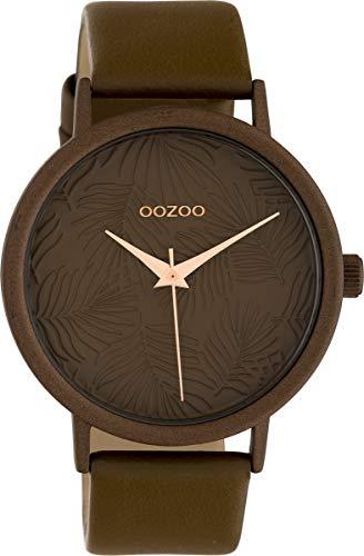 Oozoo Damenuhr mit Lederband 42 MM Colours of Summer Palmen Zifferblatt Unicolor Braun C10171