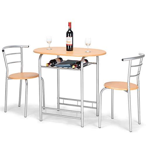 COSTWAY 3tlg. Küchenbar, Sitzgruppe Küche, Esstisch mit 2 Stühlen, Balkonset (Natur)