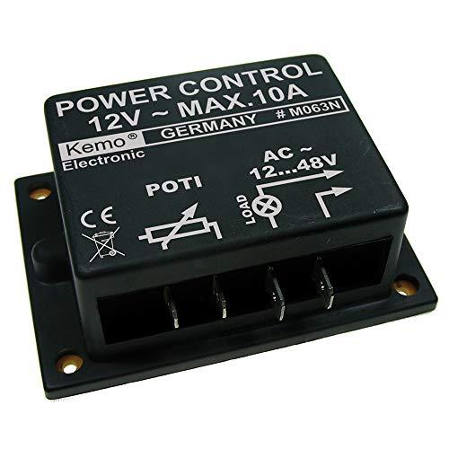 Kemo M063N Dimmer 12 - 48 V/AC, max. 10 A. Stufenlose Regelung 12 V/AC Wechselspannungsmotoren, Glühlampen, Heizungen, Trafos. Für ohmsche und induktive Lasten