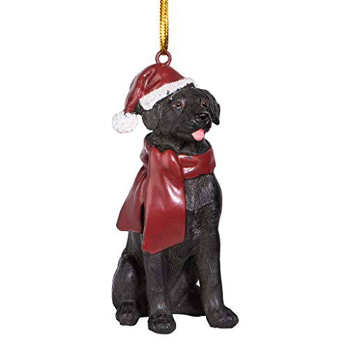 Design Toscano Black Labrador Retriever Holiday Dog Christmas Tree Ornament Xmas Decorations, 3 Inch, Full Color