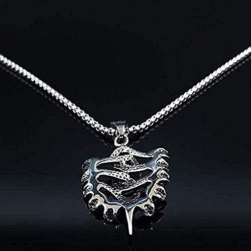 niuziyanfa Co.,ltd Moda Calavera y Serpiente Collar Llamativo de Acero Inoxidable Hombres Collares de Color Plateado joyería Colgantes Regalos