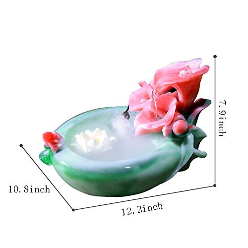 Statues Lotus Desktop Fountain,Imitation Jade Water Fountain Resin Ornaments Tabletop Fountain with Light Home Desktop Decoration Business Gifts-Calla Lily A 12.2inch