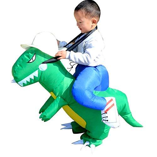 Disfraz de Dinosaurio Inflable para niños Dinosaurio Cosplay Cosplay Fiesta de Baile Disfraz Divertido Disfraz de Halloween para niños 80-120cm Green