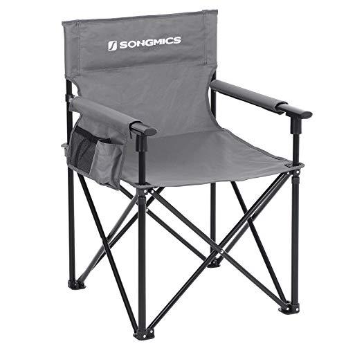 Songmics GCB11GY GCB11GY GCB11GY Opvouwbare stoel, campingstoel met 3 zakken, voor visagisten, kappers, robuust en duurzaam, tot 150 kg belastbaar
