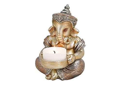 Deko Figur Ganesha mit Teelichthalter Figur sitzend 11 cm, Polystein champagner silber Hindu Gott Buddha Indien Asien Elefantengott Statue Ganesh Elefant