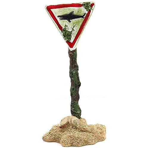 Heritan Shark Warning Board Aquarium Decor Ornaments, Warning Sign Sunken , Resin Fish Tank Decorations Remains