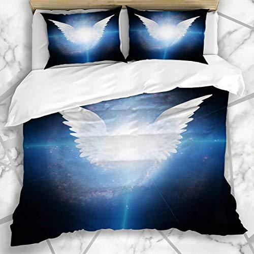 Soefipok Conjuntos de Funda nórdica Alas de ángel con alas Este amueblado, arcángel Espiritual, Michael Light Warrior Guardian Love, Ropa de Cama de Microfibra con 2 Fundas de Almohada