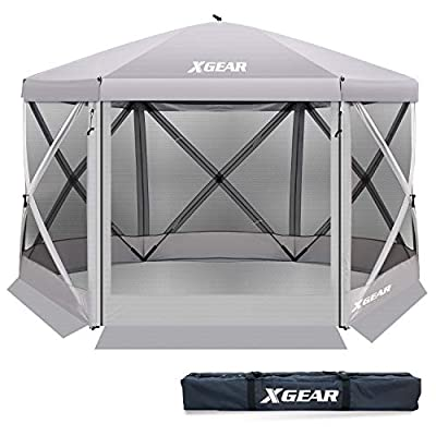 XGEAR Pop Up 6 Sided Instant Gazebo Camping Screenhouse Canopy Tent with Netting 140''X140''(Silver)