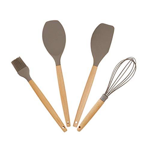 Spatule Cuisine silicone Ustensiles Set, 4Pcs Ustensiles de cuisine Kit, Spatule de cuisson résistant avec chaleur Outils poignée en bois