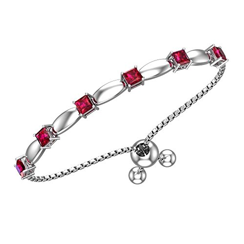 Belinda Jewelz Womens 925 Sterling Silver Sparkling Square Bolo Gemstone Adjustable Tennis Style Pull String Birthstone Jewelry Fine Bracelet, 2.0 Carat Created Red Ruby, 11 Inch Box Chain