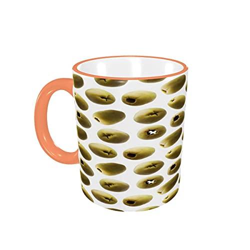 Taza de café Tazas de café con Aceitunas Verdes Divertidas y Divertidas Tazas de cerámica con Asas para Bebidas Calientes - Cappuccino, Latte, Tea, Cocoa, Coffee Gifts 12 oz Pink