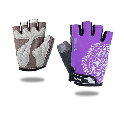 VEBE Women's Biking Cycling Gloves Non-Slip Shockproof Short Finger Gloves Outdoor Riding Mountain Bike Gloves… (Lavender, S)