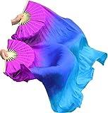Winged Sirenny Children 1.1m Belly Dance Silk Fan Veil Worship Flag Streamer (purple-blue-turquoise)