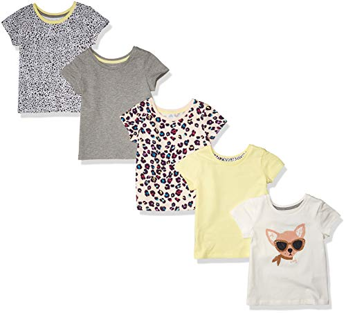 Amazon Essentials Short-Sleeve T-Shirts Dress, 5-Pack Animal, 4 Years, Pack of 5