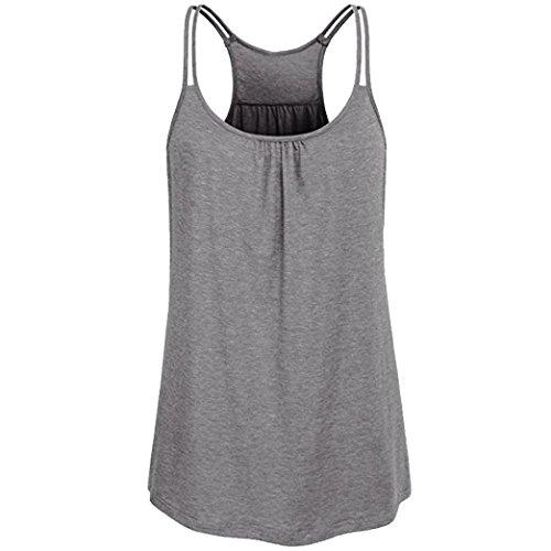 TUDUZ Damen Große Größe Camisole Rundhals Falten T-Shirt Weste Bluse Ärmellos Stretch Tunika Top(S,X-Grau)