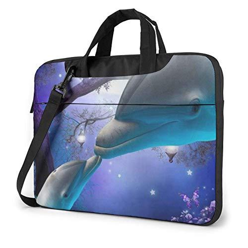 15.6 Inch Funda Bandolera Maletín para Portátil Maletín de Hombro para Negocio Viaje Delfines Ballena Azul del Bosque Nocturno