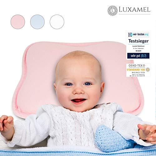 Luxamel | TESTSIEGER Orthopädisches Babykissen pink | Ergonomisches gegen Plattkopf und Verformung | Für Säuglinge und Kleinkinder | 100% Schadstofffrei