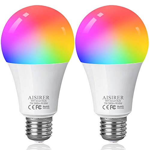 Lampadina Smart E27, AISIRER Lampadina Intelligente WiFi, LED RGB Dimmerabile Multicolore e Bianco Caldo, Compatibile con Alexa e Google Home, 60W Equivalente, Senza Hub Richiesto (2 Pack)