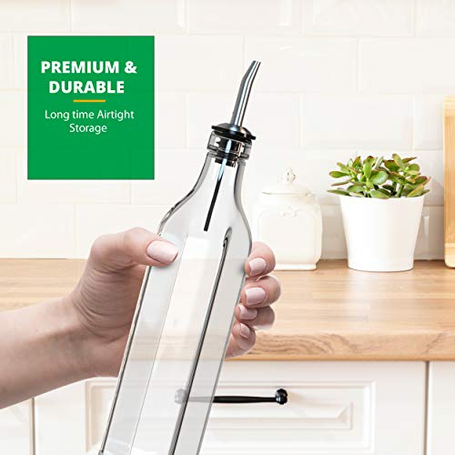 Liam Kitchen Glass Oil Dispenser 17oz Pack 1 - Olive Oil and Vinegar Cruet Clear Bottle Includes 1 Extra Stainless Steel Spout for Easy Pouring - White