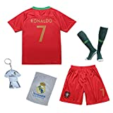 Portugal Ronaldo #7 2018 Heim Trikot und Shorts mit Socken und Wickel Armband Kinder und Jugend Größe
