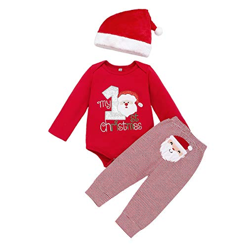 Christmas Outfits Baby Boys Girls My 1st Christmas Santa Claus Rompers Bodysuit Pants with Christmas Hat 3 Pcs (Red, 0-3 Months)