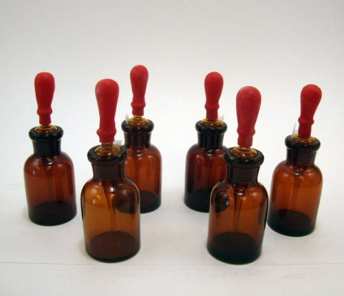 Amber Glass Dropping Bottles, 30ml, Pack of 6