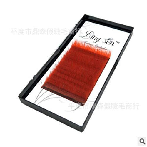 Idiytip Extension individuelle de cils en fibre de soie importée Faux cils individuels individuels 12 rangs Cils de greffage Curl (rouge, 10MM)