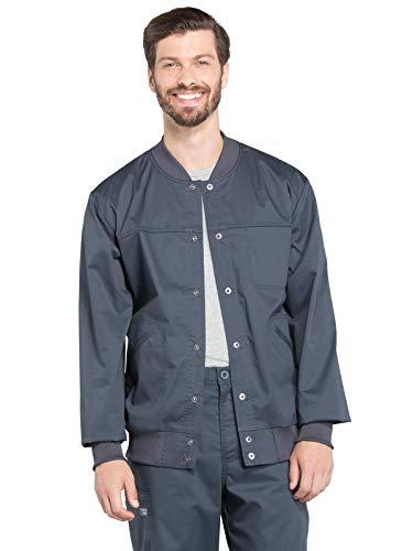 CHEROKEE Workwear WW Core Stretch Men's Men's Snap Front Scrub Jacket, WW330, L, Pewter