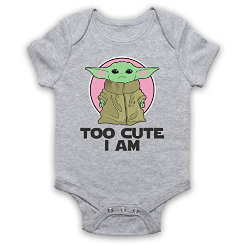 My Icon Art & Clothing Mandalor Star Baby Yoda Too Cute I Am Sci Fi Film Spinoff TV Babystrampler, Grau, 3-6 Monate