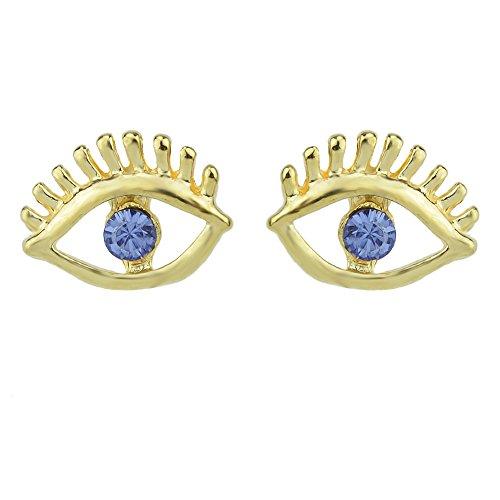 Feelontop? Recién llegados ojo de color rosa azul forma Rhinestone Stud Pendientes con bolsa de joyería