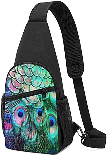 Sling Bag Brustrucksack für Wandern Reisen Daypack Herren Damen Pfauenfeder Casual Brustrucksack Crossbody Sling Brust Schulter