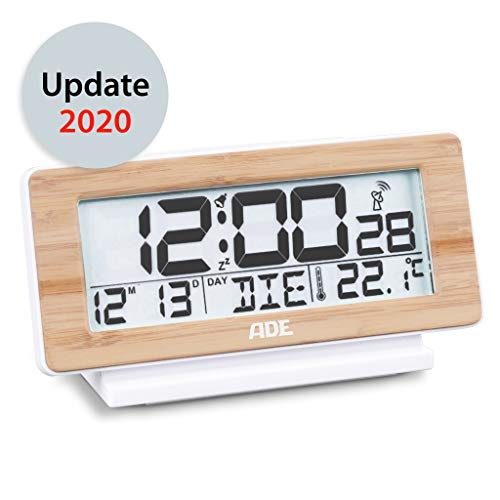 ADE CK1940 Digitaler Funkwecker, Weiß/Bambus Holz, DCF-Zeitsignal, Display-Beleuchtung, Temperatur-Anzeige, 4 x 16.6 x 8.7 cm