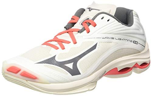 Mizuno Wave Lightning Z6, Zapatillas de vóleibol Mujer, Blancanieves/Qshade/Coralf, 39 EU
