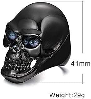 Black titanium skull ring for men