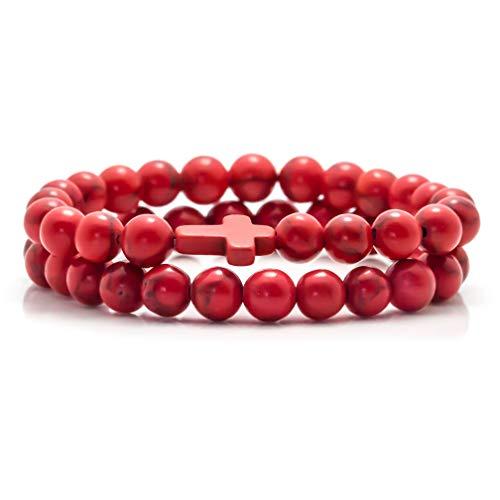 Fusamk 2PCS Cross Turquoise Bracelet Natural Stone Lava Beads Essential Oil Diffuser Bracelets,7.5' Wrist(Red)