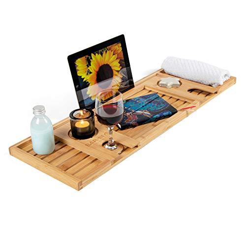 BAR-NYS® Badewannenablage aus Bambus| braun 75x25x2cm | tablett Holz zur Ablage | robust und leichtes badewannenbrett| ökologisch und nachhaltig | Bad Accessoires auch als Wein Geschenk geeignet