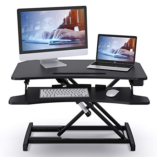 ABOX Sitz-Steh-Schreibtisch, Elektrisch Höhenverstellbarer Schreibtisch Computertisch mit Einem Tastendruck, Sit-Stand Workstation mit Abnehmbarer Tastaturablage, Tischplatte 85 x 51cm, Schwarz
