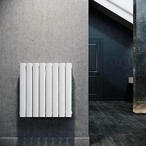ELEGANT Paneelheizkörper Horizontal 630 x 616 mm Weiß Badezimmer/Wohnraum Doppellagig Horizontal Heizkörper Badheizkörper Design Flachheizkörper