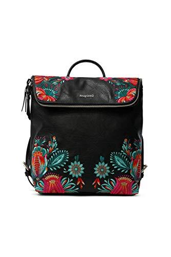 Desigual PU Backpack Medium, Gorilla Sports-Mochila de Poliuretano (tamaño Mediano) para Mujer, Negro